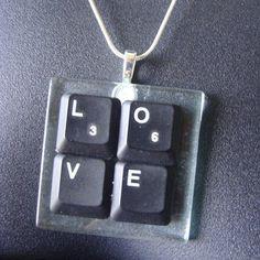 Black Laptop Computer Key - LOVE Necklace