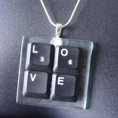 Black Laptop Computer Key - LOVE Necklace