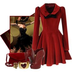 Dark Red Bowknot Pleats Woolen Dress @romwe, CASADEI small leather cross body purse , Lucas Jack Gold Heart Cuff Bracelet, Alexander McQueen ring, Alexander McQ...