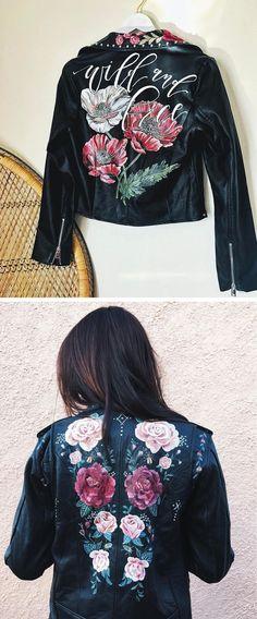 Painted leather jackets | hand painted jacket | illustration on jacket | flower leather jacket | leather jacket DIY