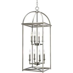 Progress Lighting Piedmont Collection 8 Light Burnished Silver Foyer Pendant