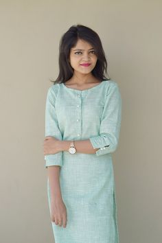 Online Shopping India - Buy Kurtis, Tops, Dresses, Shirts & Fashion For Women Green Elegance my way Kurti Plain Kurti Designs, Simple Kurta Designs, Salwar Neck Designs, New Kurti Designs, Churidar Designs, Kurta Neck Design, Dress Neck Designs, Kurta Designs Women, Kurti Designs Party Wear