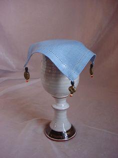 Blue Linen Goblet Cover Renaissance Beaded Feast Gear Tankard Mug O2532 #Handmade Seller florasgarden on ebay