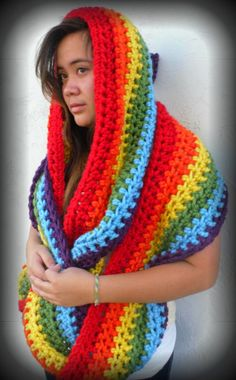 Rainbow crochet infinity scarf/cowl - not in the rainbow color but I like how big and blankety it is
