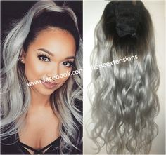 Cherie 8A Remy Human Hair Drawstring Ponytail Hair Extension Ombre Dip Dye Balayage Grey Silver Pure or Ombre Brown Black Blonde etc.