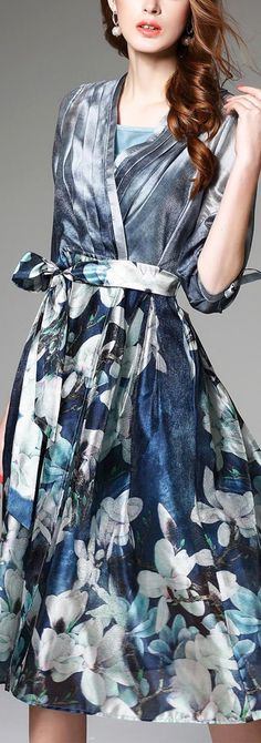 Navy Blue, Snow White and Light Slate Gray Made Up of Such a Gorgeous Summer Dress. Stay Cool and Shop On VIPme.com NOW!