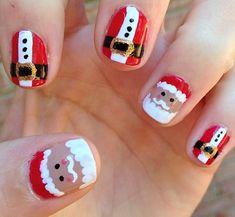 Santa Clause nail art! Cute Winter and Christmas Nail Ideas - Crafty Morning