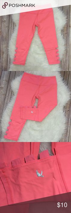Neon Pink Yoga Pants Size small! I'm a 6-8 in women's and these fit perfectly! They have a really cute cut out detail on the calf! Inseam is 18in and the waist is 13inches flat with stretch! They feel a lot like Lululemon but they are not! They are Gliden brand gliden Pants Leggings
