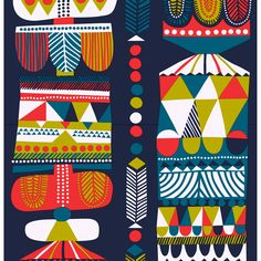 The exciting Toteemi-fabric designed by Sanna Annukka was inspired by Karelia and Afrika. The fabric is thick and resistant and made of 100% cotton.