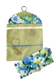 travel jewelry organizer - watercolor floral blue and green