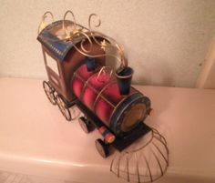 Locomotive - Made of Tin - Tea Light Candle Holder - Wheels Turn