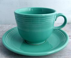 Turquoise Fiestaware Cup and Saucer by SunshineCottage on Etsy, $15.00