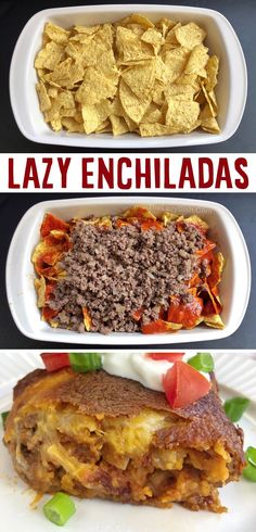 My family LOVES this easy dinner recipe! (Lazy Echilada Casserole) Easy Enchilada Casserole, Easy Mexican Casserole, Easy Dinner Recipes, Snack Recipes, Cooking Recipes, Easy Dinners, Dinner Ideas, Mexican Dishes, Mexican Food Recipes