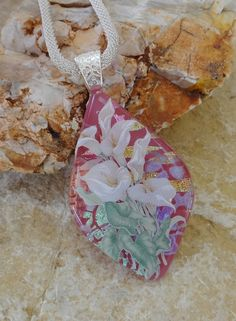 Fused Glass Necklace Calla Lilies on Pink  Dichroic by GlassCat