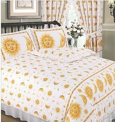 DOUBLE BED DUVET COVER SET SUN AND MOON WHITE YELLOW GOLD STARS BORDER 68 PICK…