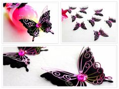 Hey, I found this really awesome Etsy listing at https://www.etsy.com/listing/207755879/3d-butterfly-wall-art-pink-and-black