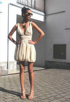 24acc00013 Light beige silk puffball dress by Radmila Kulundzic Light Beige