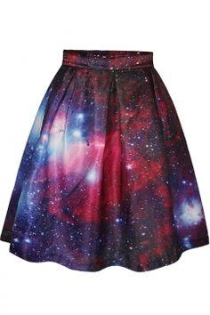 Red Galaxy Print Tie Dye A-Line Skirt