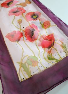Silk Scarf Poppies Hand Painted in Red, Pink, burgundy. Floral Silk Scarf. Summer accessory. Gift idea for mother, grandma. Ready to ship - pinned by pin4etsy.com