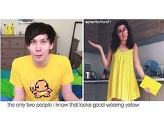 Phil and Dodie<<agreed<<<im sure dan would too, but he's sticking with black, pink, purple, and blue majorly