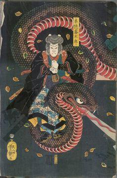 "irezumilover: ""Snakes in Japanese woodblock prints Prints like these made by Hokusai (top), Utagawa Yoshitsuya (middle), and Ochiai Yoshiiku (bottom) are good reference for actual tattoos. Japanese Drawings, Japanese Artwork, Japanese Tattoo Art, Japanese Painting, Japanese Prints, Japan Illustration, Oriental, Hokusai, Samurai Art"