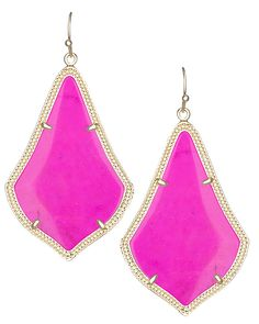 Love the shape of these Kendra Scott Alexandra Earrings in magenta ~ but would prefer them in neon pink! :)