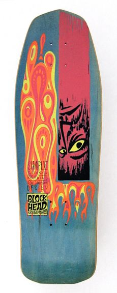 1987 Blockhead Skateboards Model: Simple Simon (Ron Cameron Specs: maple, various stain colors, wood by Madrid. Skateboard Photos, Skateboard Deck Art, Skateboard Design, Old School Skateboards, Vintage Skateboards, History Of Skateboarding, Skateboard Companies, Snowboard Design, Skate And Destroy