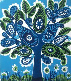 Paisley Tree Original Linocut Print. by Zoe Badger