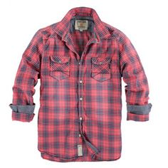 Men's 'Large Checked' Shirt (Redwood) by Garcia From Katwalk Casa