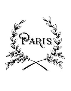 My latest French Transfer Printable- Graphics Fairy. A Printable Vintage Paris Wreath! Great for Pillows or Towels.