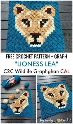 """Lioness Lea Square - Free Crochet Pattern - Wildlife Graphghan CAL Block 4 """"Lioness Lea"""" is the Square of the Wildlife Graphghan and you can find the free crochet pattern on My Hobby is . Crochet Pixel, Crochet Chart, Crochet Blanket Patterns, Crochet Motif, Free Crochet, Knitting Patterns, Crochet Afghans, Afghan Patterns, Crochet Blankets"""