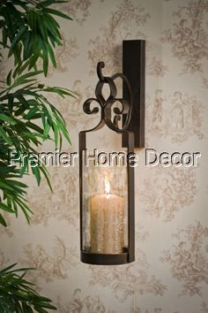 Old World Tuscan St/2 Bronze Finish Iron Hanging Wall Sconce Candleholder & Artisanal Wall-Mount Candleholder - Silver | Pottery Barn | Wall ...