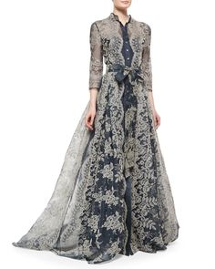 Carolina Herrera Embroidered Lace Pleated Gown - quite like the shirt-dress aspect of this, it's a nice twist on Edwardian style Carolina Herrera, Look Fashion, Hijab Fashion, Winter Fashion, Beautiful Gowns, Beautiful Outfits, Pretty Outfits, Pretty Dresses, Mode Boho