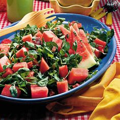 Watermelon-prosciutto salad.