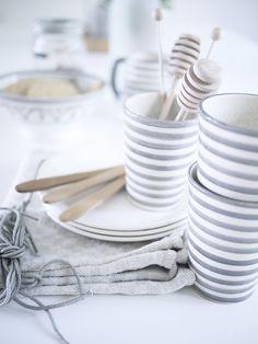 Grey and white tea setting