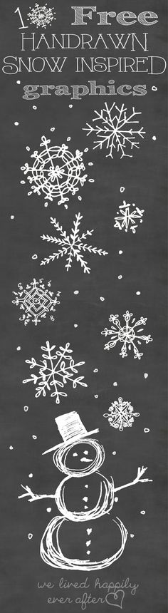 Sketch Me Pretty: Snowflake Graphic Freebies / Christmas Chalkboard Clip Art Chalkboard Lettering, Chalkboard Designs, Hand Lettering, Chalkboard Ideas, Chalkboard Doodles, Chalkboard Drawings, Noel Christmas, Winter Christmas, All Things Christmas