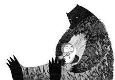 Rikimini by Alexandra Huard Children's Book Illustration, Graphic Design Illustration, Art D'ours, Black And White Painting, Bear Art, Land Art, Illustrations Posters, Sculpture Art, Cool Art