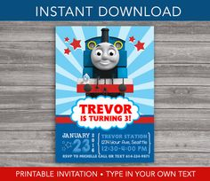 Thomas the Train Invitation - INSTANT DOWNLOAD - Printable Birthday Invitation - Editable Text PDF file - DiY Personalize & Print Your Own