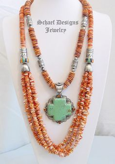 Schaef Designs orange spiny oyster shell and sterling silver tube bead multi strand long necklace with inlaid beads and D Troutman Square Cross turquoise