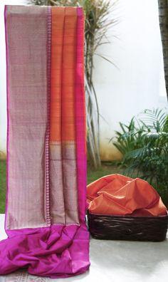 Lakshmi Handwoven Banarasi Tussar Silk Sari 000378 - Sari / All Saris - Parisera