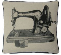 "SEWING MACHINE BLACK BEIGE TAPESTRY COTTON VELVET THICK 18"" CUSHION COVER #Novelty"