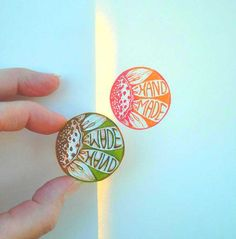 Cool Round Flower 'Hand Made' Rubber Stamp