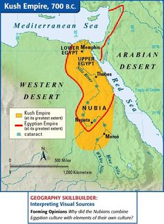 A map depicting the course of the Nile River and the locations of