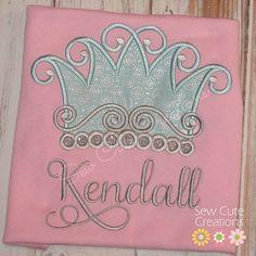Personalized Princess Crown Tiara Birthday Shirt monogram custom embroidered short long sleeve sew cute creations