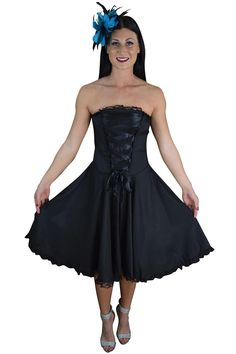 Gothic Rockabilly Black Satin Corset Lace-up Dress from Skelapparel. Shop more products from Skelapparel on Wanelo.