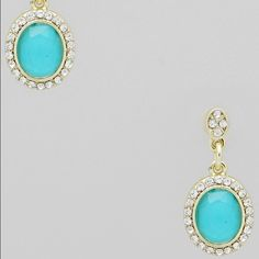 Gold Tone/Turquoise Frame Oval Drop Earrings Gold Tone/Turquoise Frame Oval Drop Earrings  with Clear Crystals.  Earrings are almost 1.25 inches long.  The middle of the bottom ornament is 1 inch in width. Jewelry Earrings