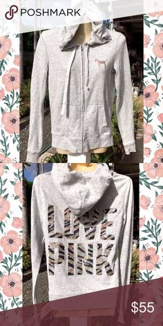 """Victoria Secret💕Sequin Bling LOVE PINK Hoodie Up for sale is a gorgeous Victoria Secret Pink gold & black sequin bling tiger """"LOVE PINK"""" gray jacket hoodie. Size small. Excellent used condition. No flaws💕💕 sort 🚫trades//but I do give bundle discounts✅✅ PINK Victoria's Secret Sweaters"""