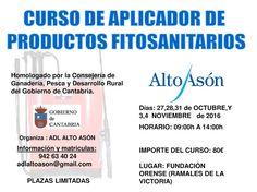 Curso Aplicador de Productos #FitoSanitarios del 27 Octubre al 4 Noviembre de 9:00 a 14:00 Plazas limitadas. Fundación Orense #Ramales