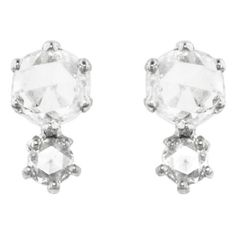 Sethi Couture Double Rose Cut Diamond Stud Earrings - White Gold ($1,540) ❤ liked on Polyvore featuring jewelry, earrings, white gold diamond earrings, 18 karat gold stud earrings, diamond earrings, long stud earrings and 18k earrings
