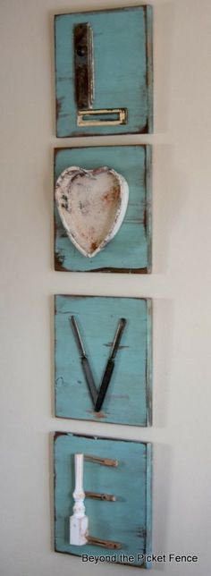 Love letters repurposed junk letters, diy wall art, decor, upcycle old stuff Diy Projects To Try, Home Projects, Craft Projects, Wood Crafts, Diy And Crafts, Arts And Crafts, Wooden Signs, Repurposed, Diy Home Decor